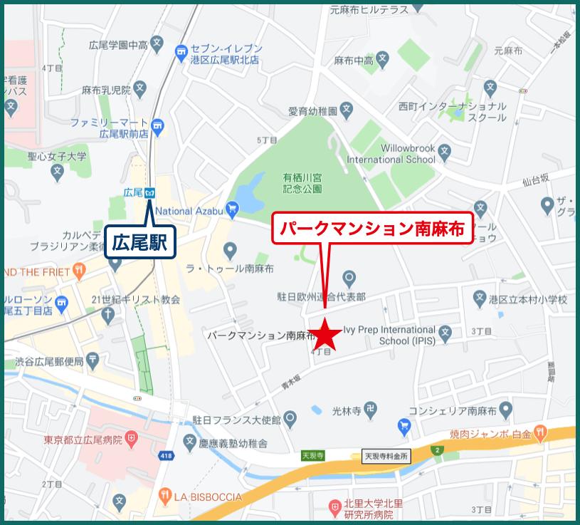 パークマンション南麻布の地図