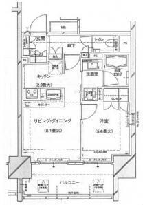 ブランズ西新宿の間取り(1LDK)