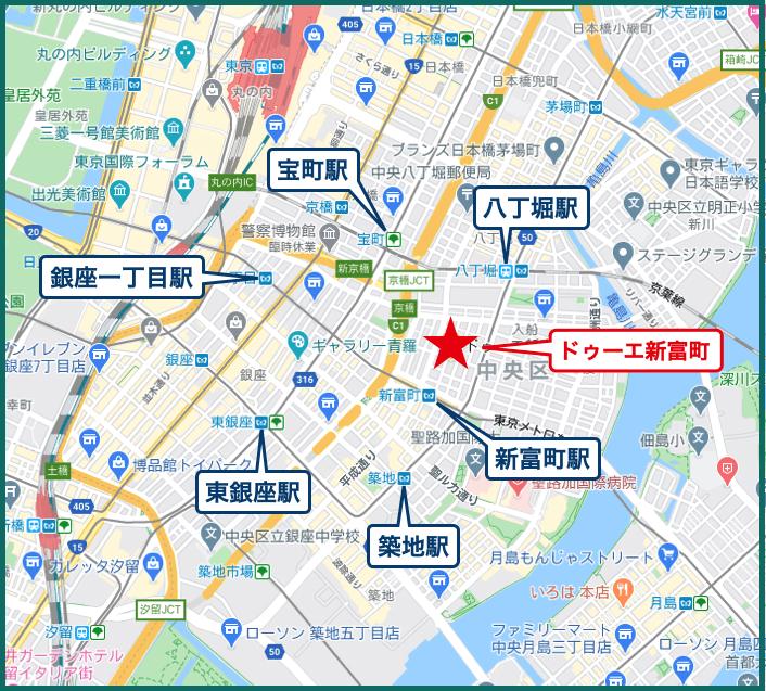 ドゥーエ新富町の地図