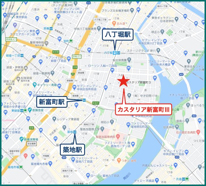 カスタリア新富町Ⅲの地図