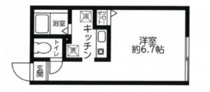 レジディア西新宿の間取り(1K)