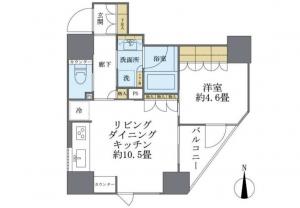 プレミスト新宿都庁前の間取り(1LDK)