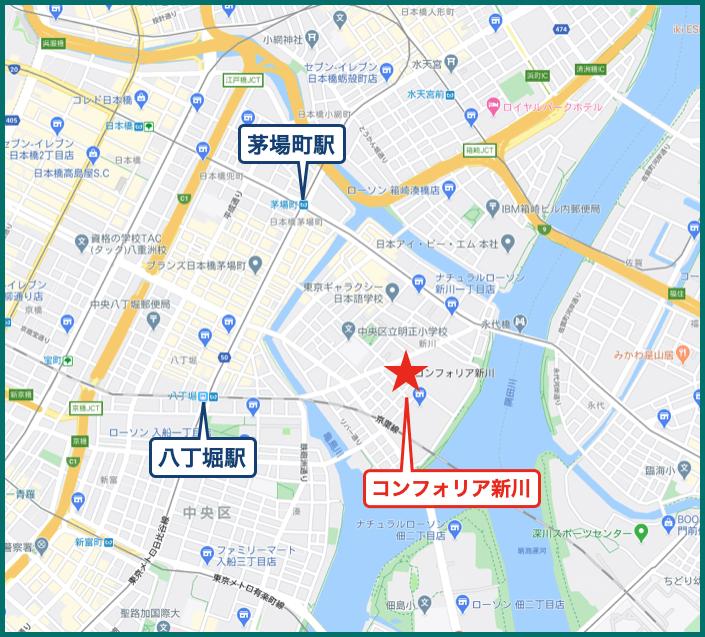 コンフォリア新川の地図