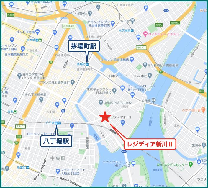 レジディア新川Ⅱの地図