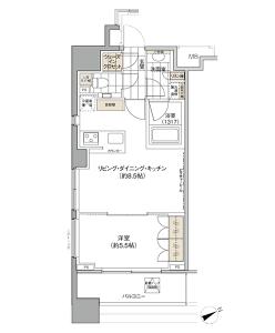 パークハビオ西新宿の間取り(1LDK)