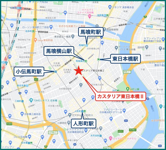 カスタリア東日本橋Ⅱの地図