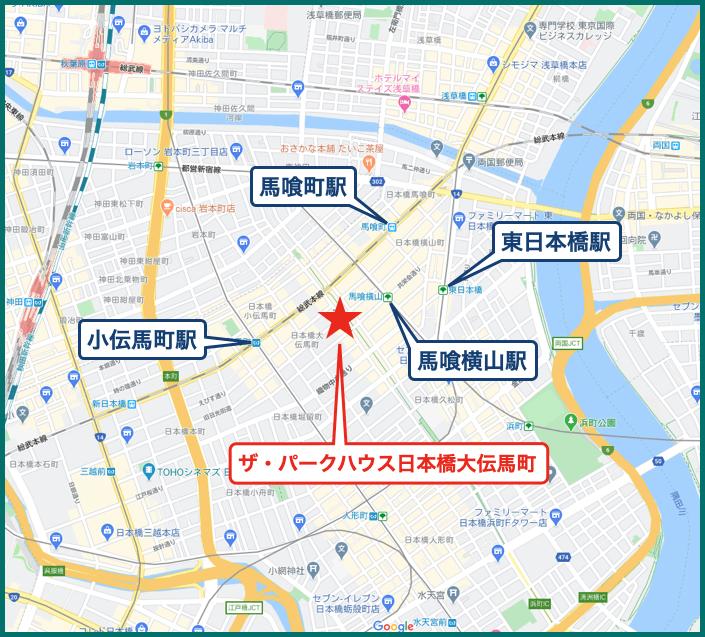 ザ・パークハウス日本橋大伝馬町の地図