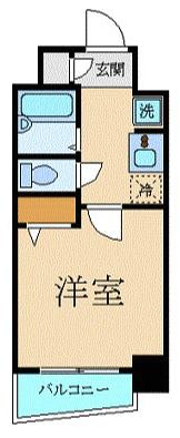 エステムプラザ日本橋弐番館1Kの間取り