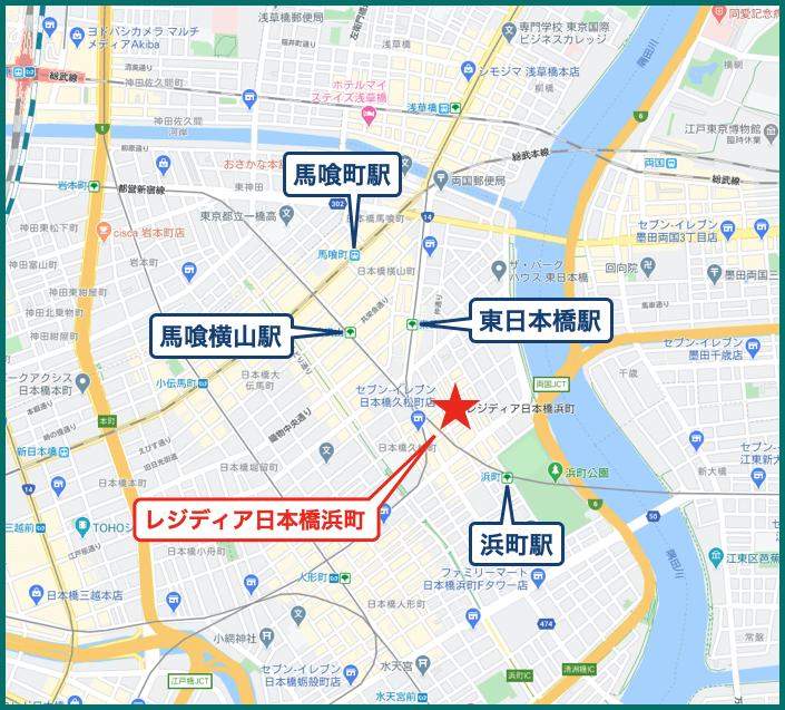 レジディア日本橋浜町の地図