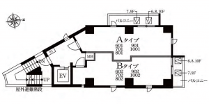 メイクスデザイン神楽坂の間取り(Aタイプ、Bタイプ、)