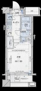 パレステュディオ神楽坂シティタワーの間取り(1K)