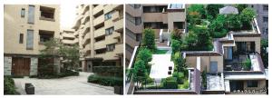 アトラス江戸川アパートメントの通路や空中庭園