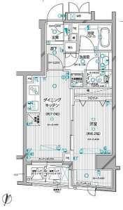 デュオ・スカーラ神楽坂タワーの間取り(1DK)