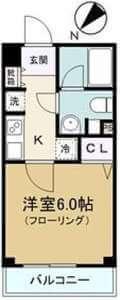 プライムアーバン神楽坂の間取り(1K)