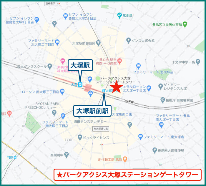 パークアクシス大塚ステーションゲートタワーの地図
