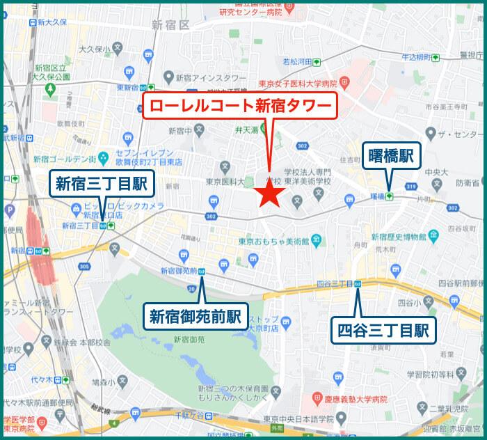 ローレルコート新宿タワーの地図