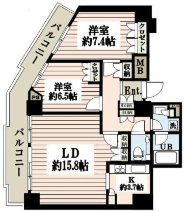 ローレルコート新宿タワー2LDKの間取り