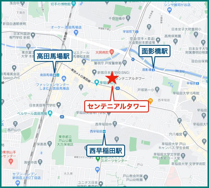 センテニアルタワーの地図