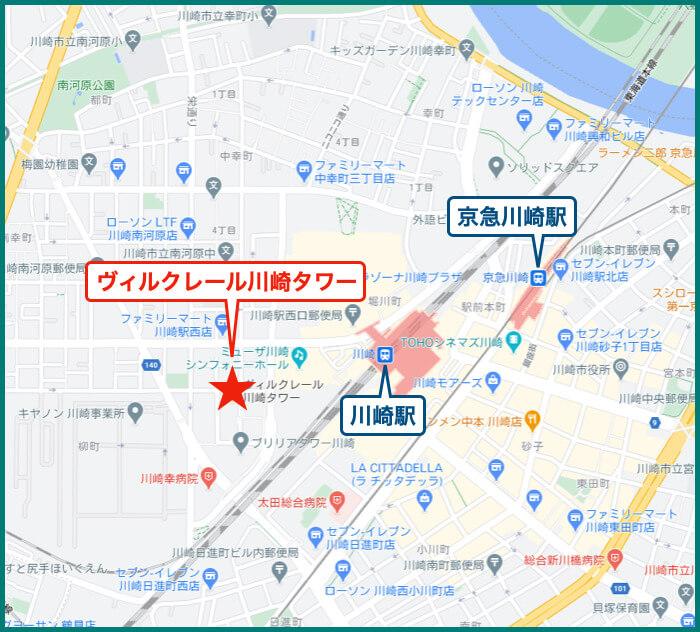 ヴィルクレール川崎タワーの地図