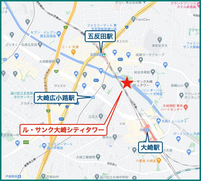 ル・サンク大崎シティタワーの地図